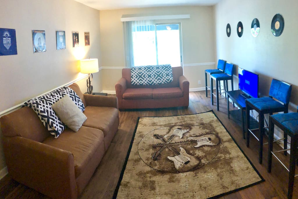 Living room with 2 foldout couches!