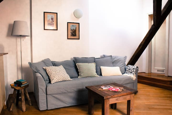 Relaxing area with sofa bed