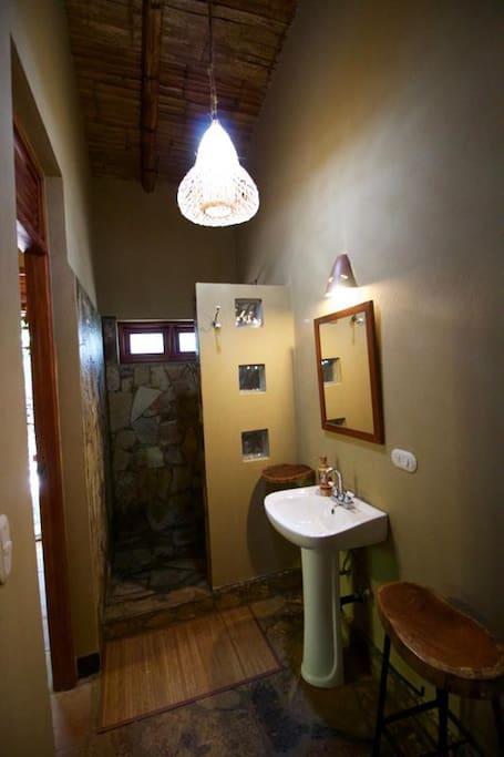 Private bathroom with hot water and natural chemical-free products