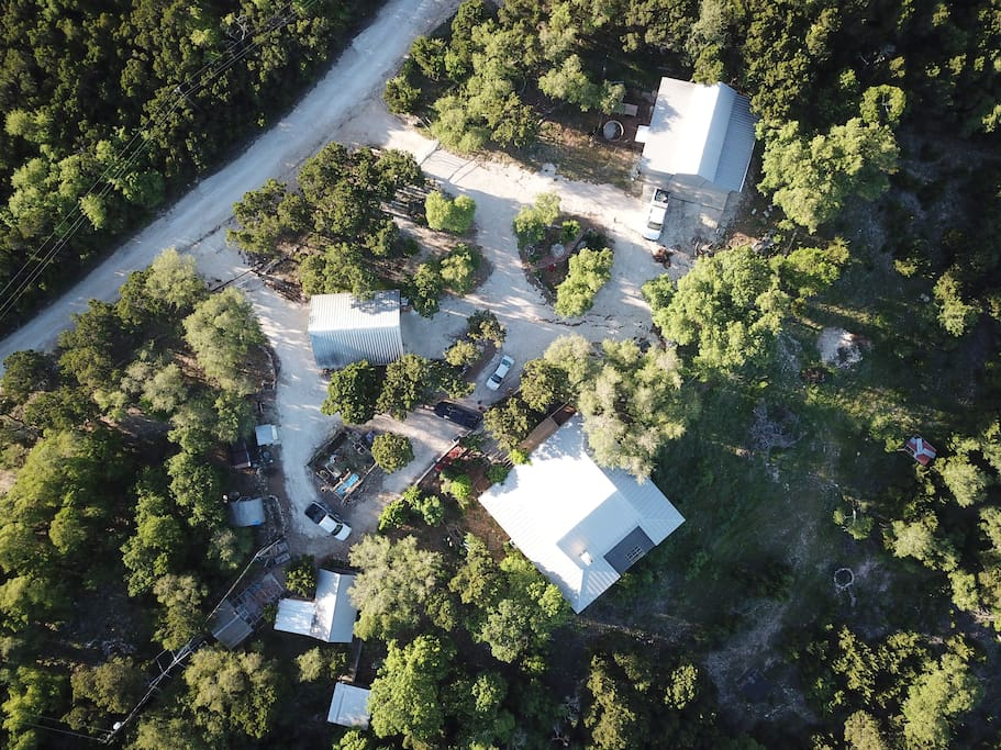 Aerial view of Entrances to your cabin in the woods at Serenity Hill