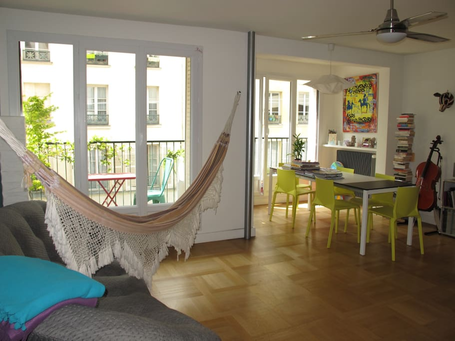 Hammock can be hooked in the living room overlooking the balcony