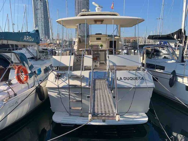 Luxury boat in Port Olympic near centrum Barcelona