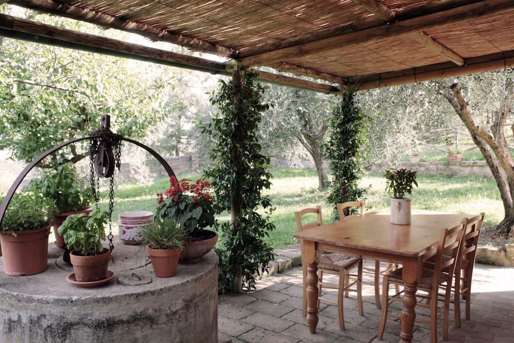 La veranda all'esterno
