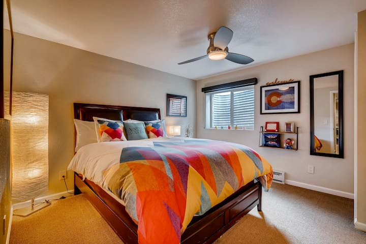 Your private, colorful, comfy bedroom that is also full of amenities.