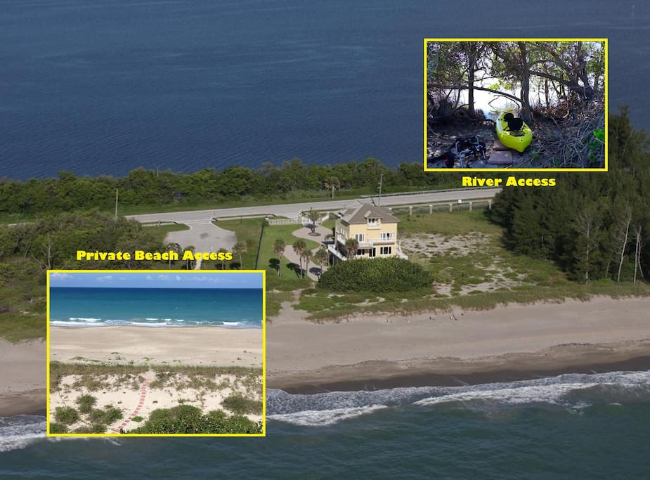 Ocean-to-River Beach Estate Directly on Atlantic Ocean and Indian River.
