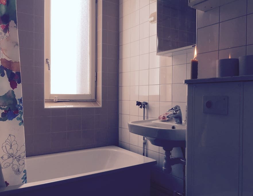 The shared bathroom, as you can see it has a bathtub.