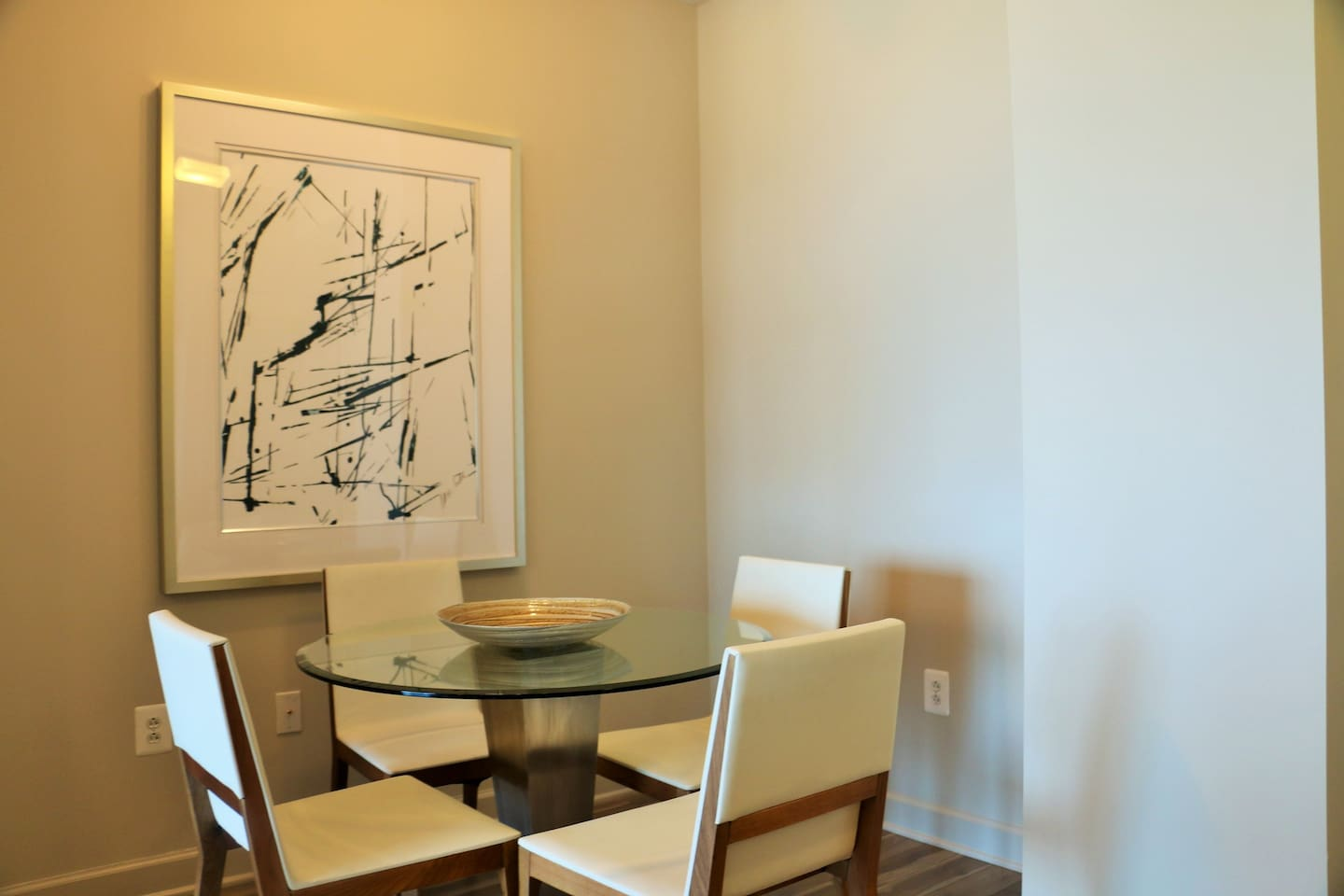 This dining area was inspired by bright, modern cafes