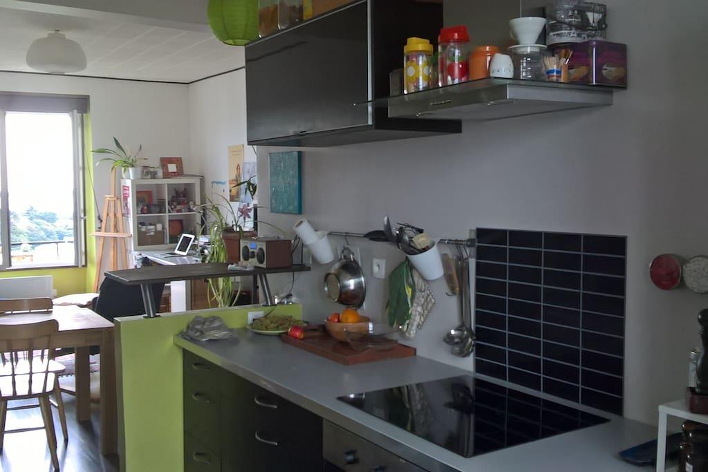 cuisine equipee (four, micro-onde, bouilloire, machine à laver)