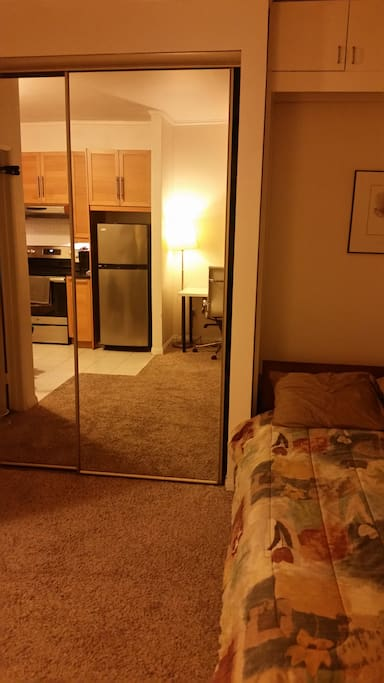 Double door mirror closet