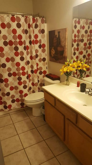This bathroom has a tub and extra large vanity.  Shampoo, soap and towels are included.
