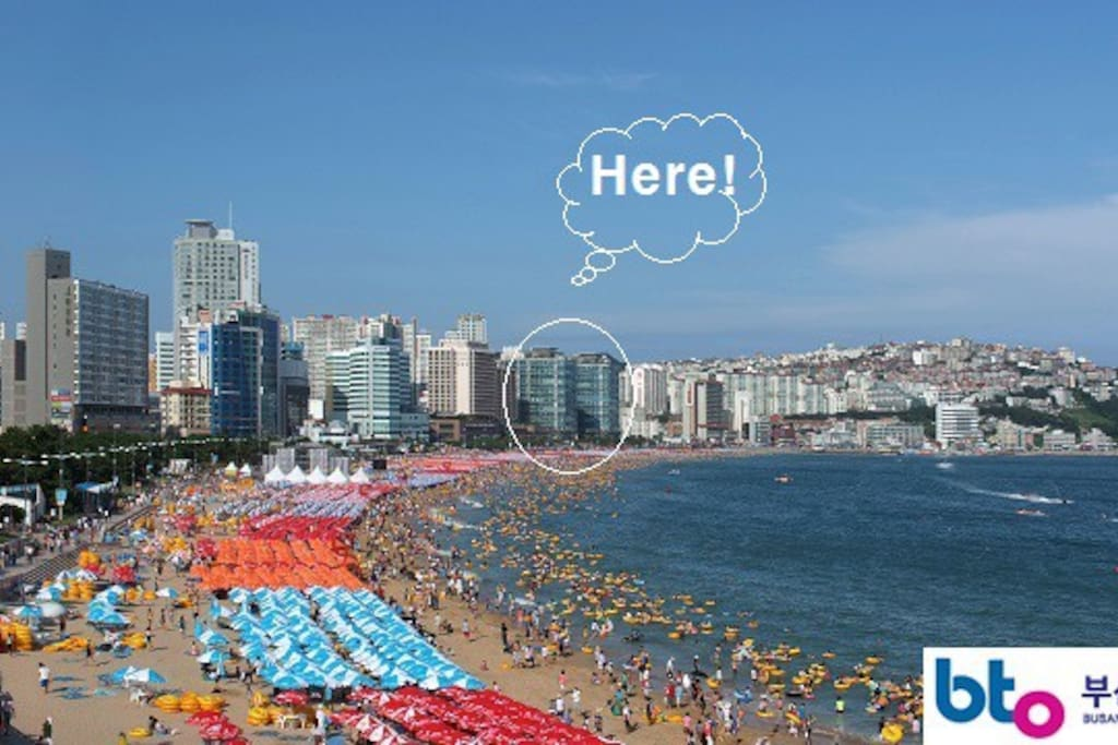 The properties are located right on the end of the Haeundae beach strip.