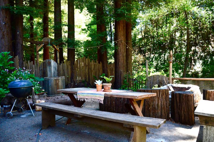 We have a kettle barbecue, picnic table, and fire pit all close to the creek available for your use.