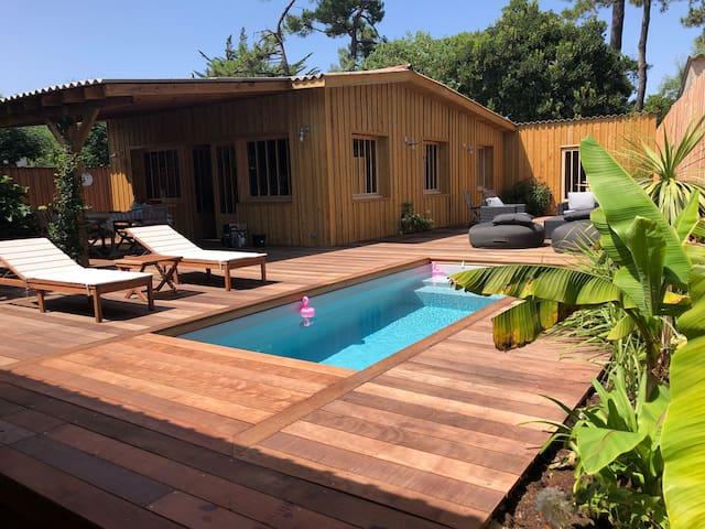 Cap-ferret maison bois tout confort avec piscine