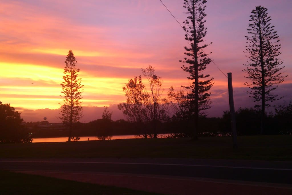 front view of Tweed River at sunset