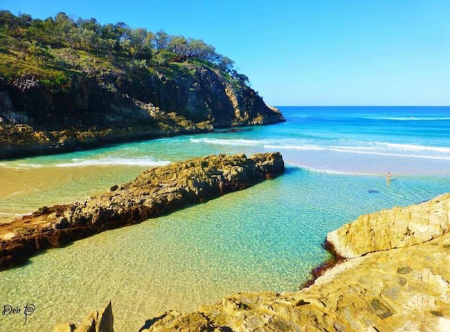 The bathing gorge is  a 5 minute walk from the Funky Little Shack.