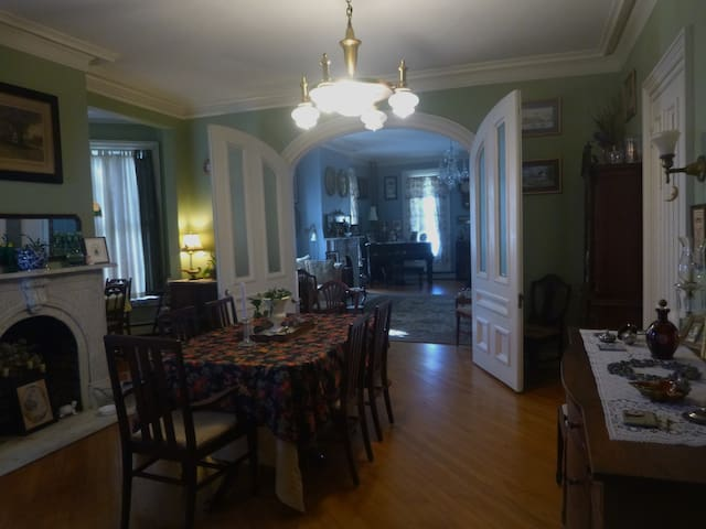 The dining room, looking into the history room.