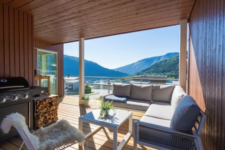Modern apartment with fjord view