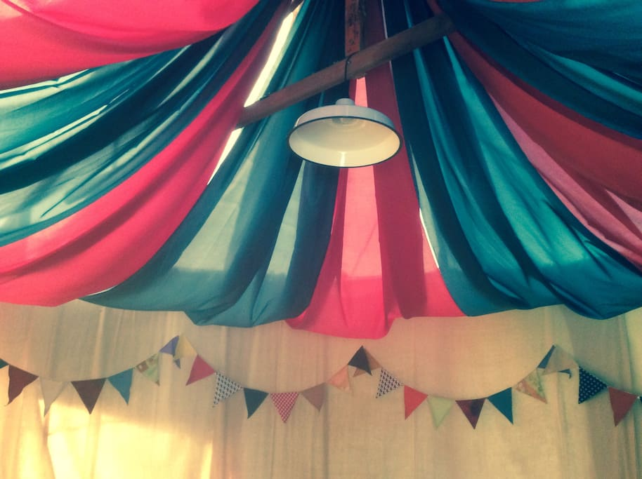 Bunting and tent lining.