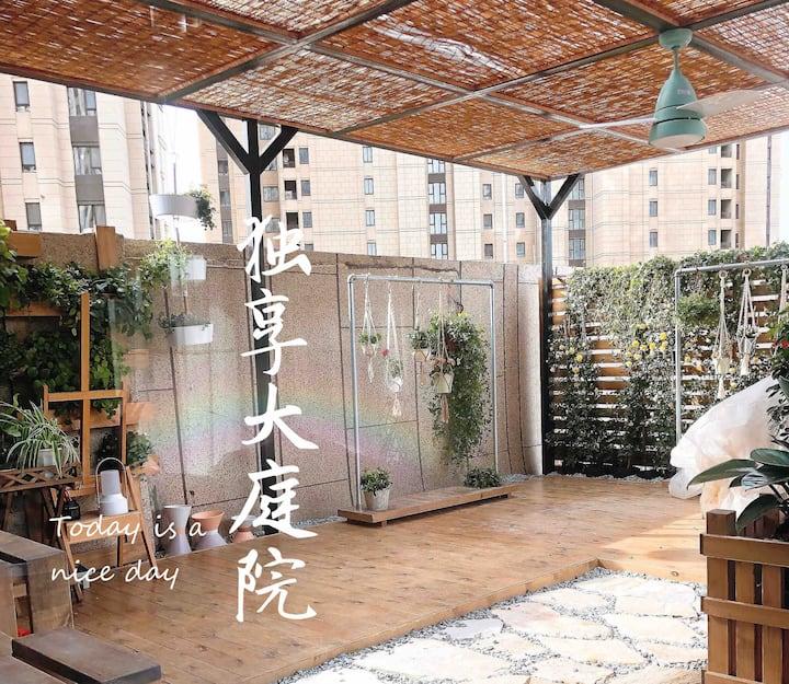【LOFT】户外大露台/可做饭/电影《宠爱》取景地/上下140平/地铁站/投影/停车