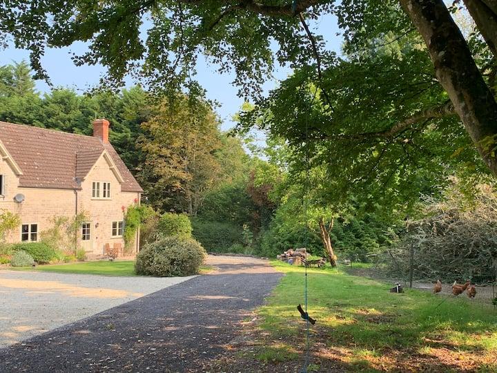 Family Woodland Cottage near Glastonbury