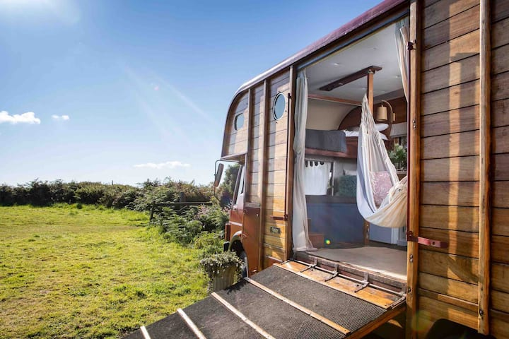 Wooden horsebox with stunning countryside views
