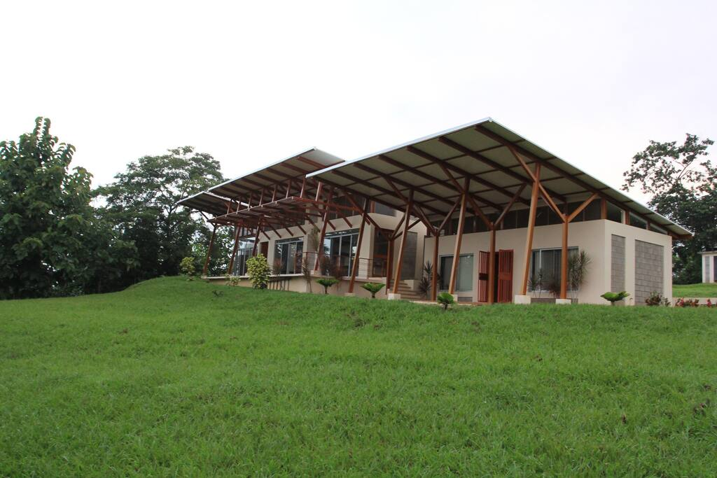 Huge grassy area surrounds the house