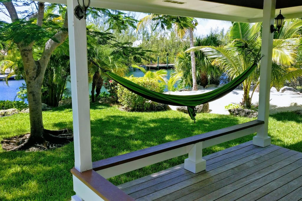 Great patio - patio furniture & multiple hammocks with many anchor points supplied.