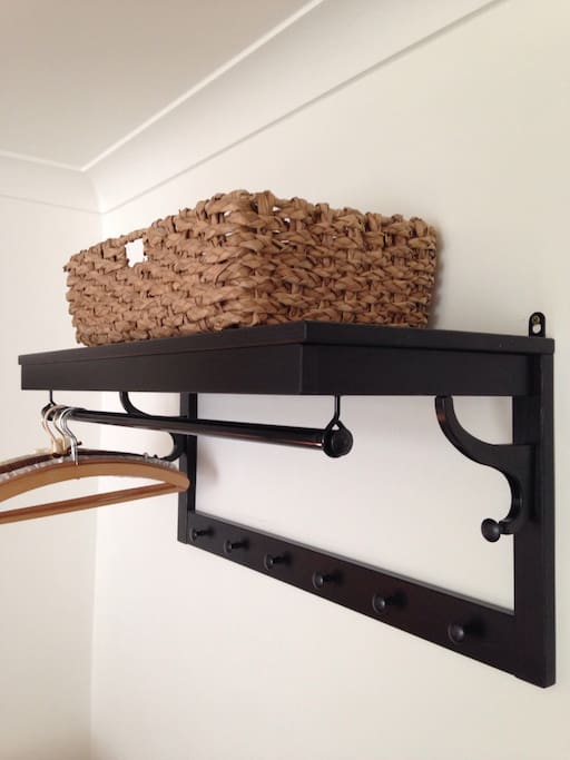 Hanging rack in bedroom