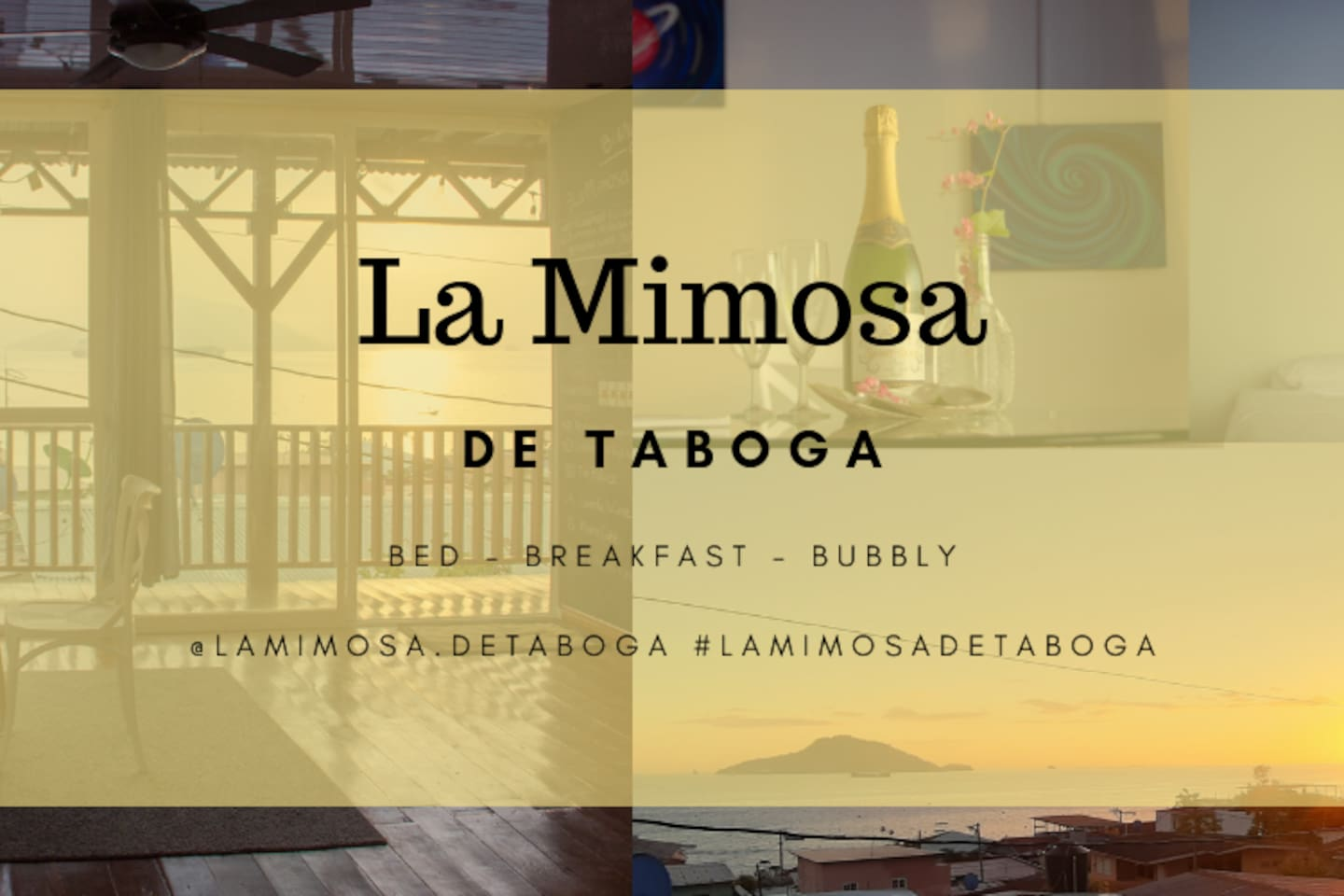 La Mimosa de Taboga is a hidden treasure in the heart of Tabogas town.  We are surrounded by banana trees, palms and fruit trees.   There are lots of vegetation and wild birds such as herons, talingos, hummingbirds and wild chickens.