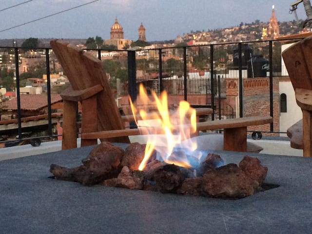 Gas fire pit on terrace