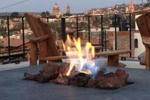 Gas fire pit on terrace