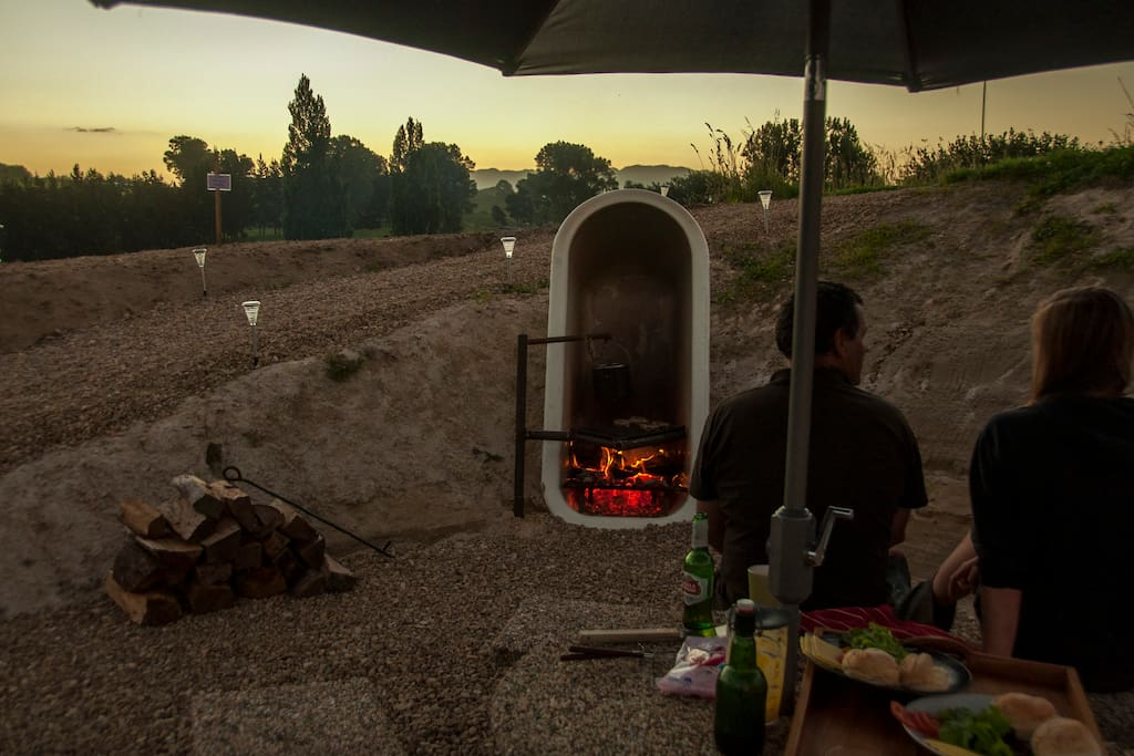 Cook over the  campfire with billy or barbecue grill.