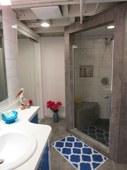 Large bathroom with heated floors.