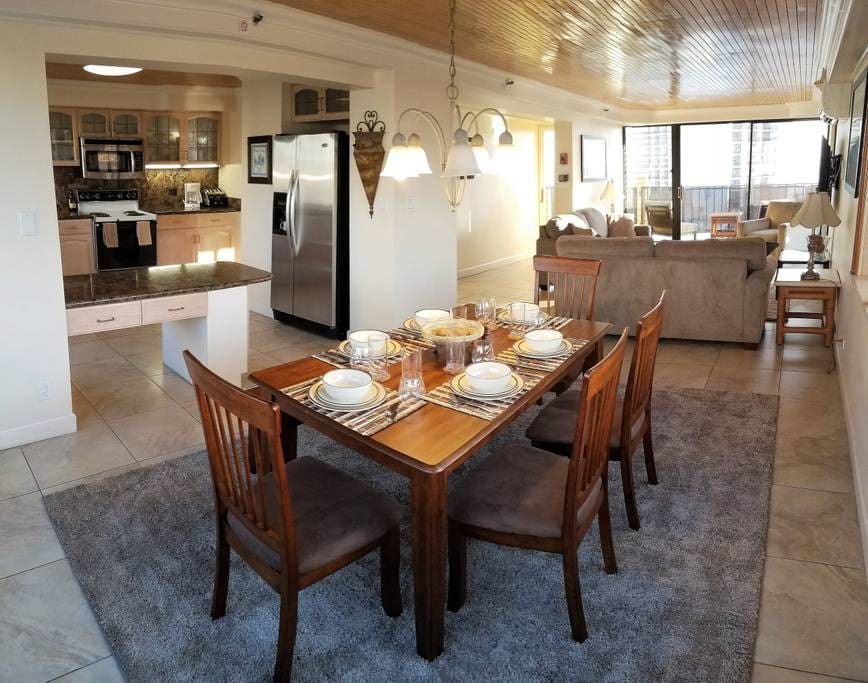Scenic views surround you from the kitchen and dining room table