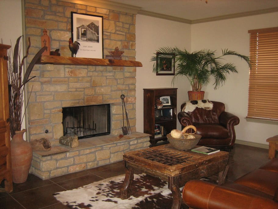 The family living room with fireplace