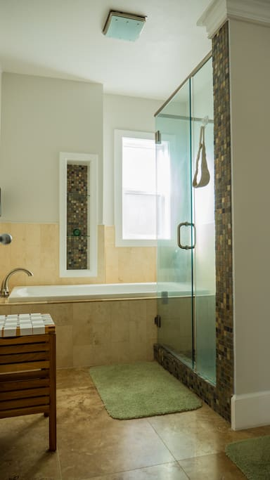 Master suite luxury shower and separate soaking tub!