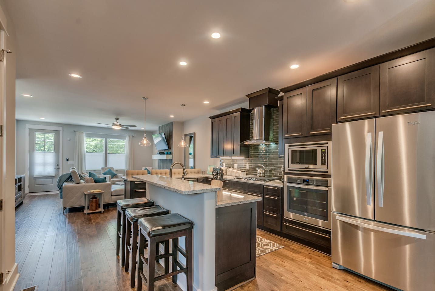Kitchen dining and living room enables wonderful environment for entertaining. Stainless steel top of the line appliances, A Keurig and full pot coffee pot, everything you need and more!