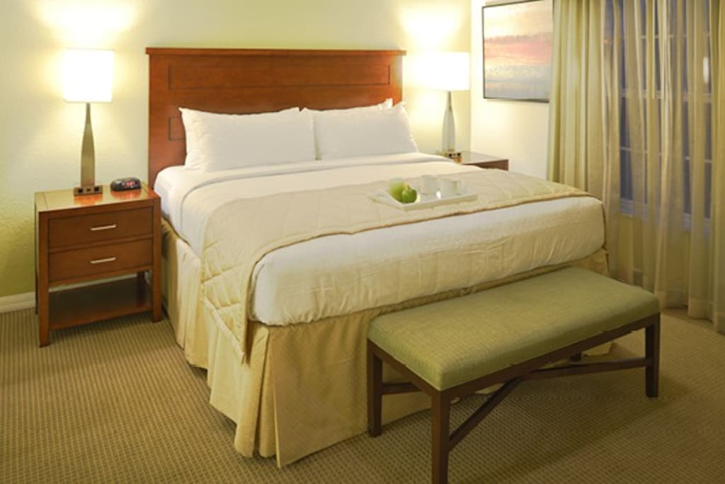 Your room includes a queen-size bed and a full size pull-out sofa in the living room.