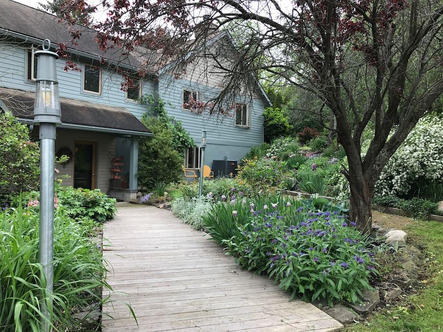 Entry to the house, through the gardens