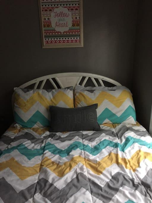 Nice comfy bed.