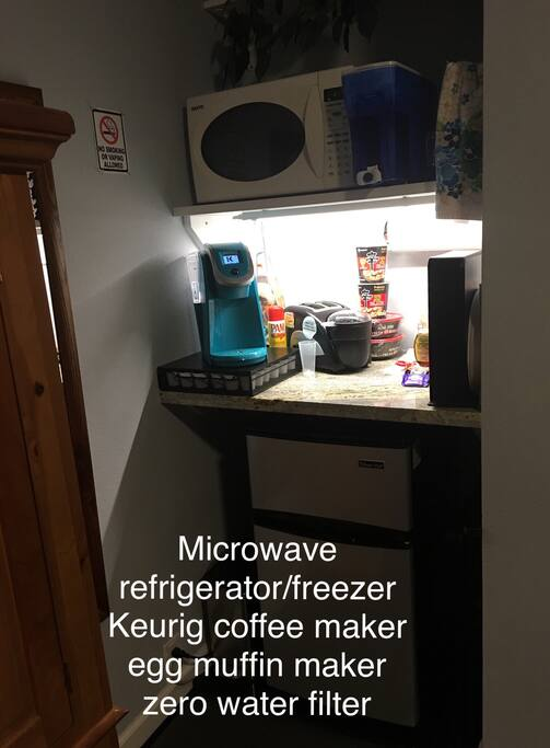 Kitchenette. Microwave, refrigerator/freezer, Keurig coffee maker, egg muffin maker zero water filter.