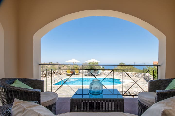 Private Villa Eirini, private pool, best sea view
