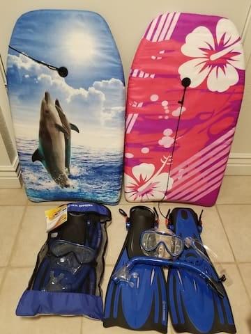Boogie boards and snorkeling gear (made available to guests only by request prior to arrival)