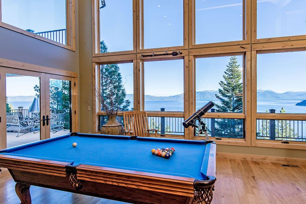 Play a game of pool or look out on the lake in a second living area.