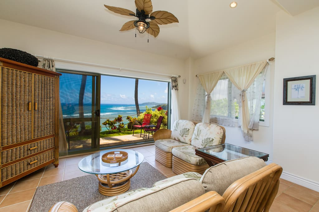 Living Room with Direct Ocean Views