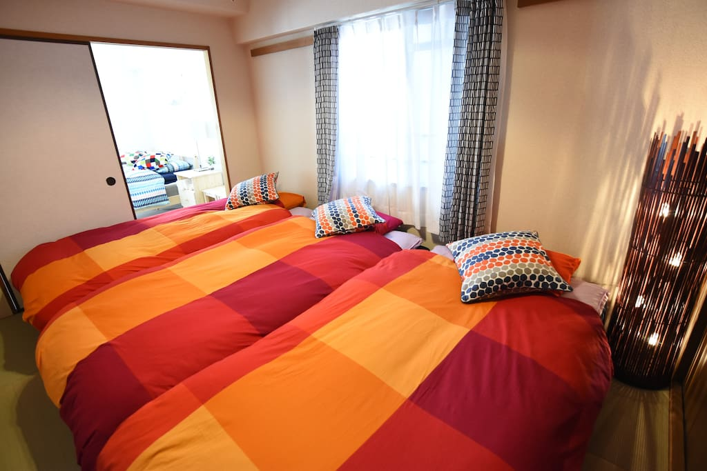 3 single beds in Japanese style bed room