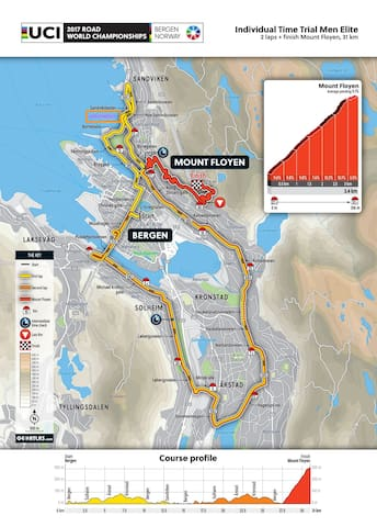 Route in Road Cycling World Championships 2017