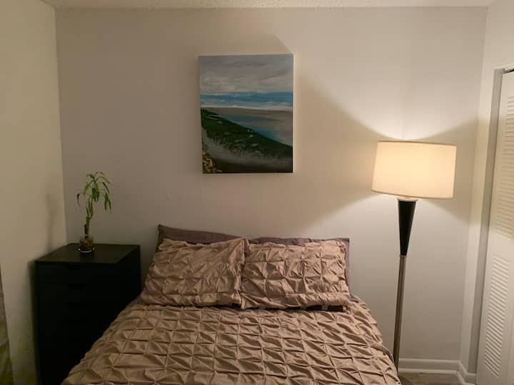 Comfortable bedroom, relaxing quiet space