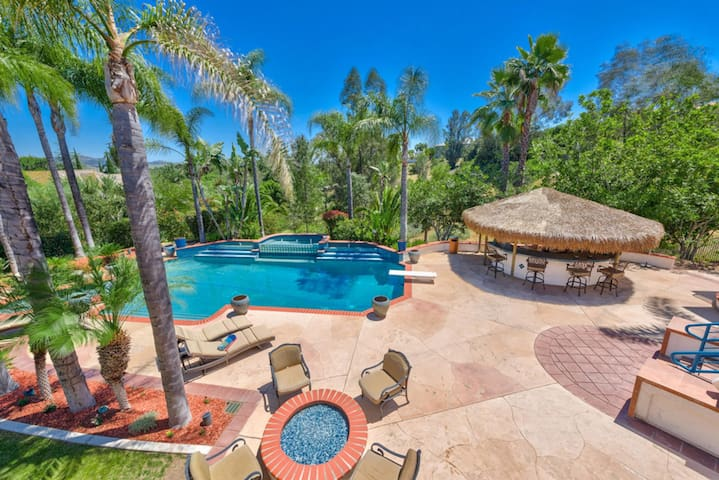 Palapa BBQ, Pool with diving board and Fire Pit