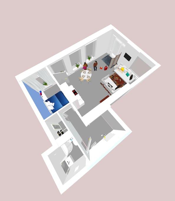 Grundriss / Layout des Apartments